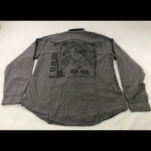 Guess Striped Pearl Snap Button Down Long Sleeve